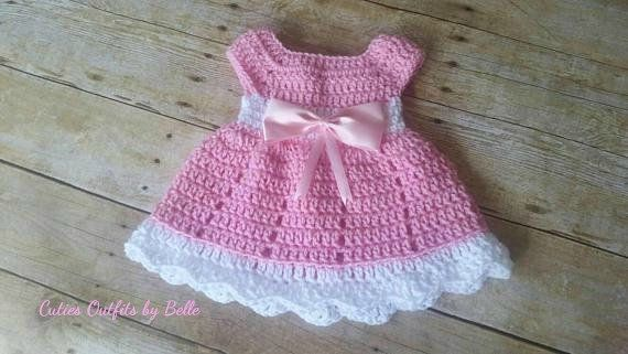 pink baby girl dress baby dress pink with crochet flower crochet pattern tutorial Crochet Pattern PDF file baby dress tutorial