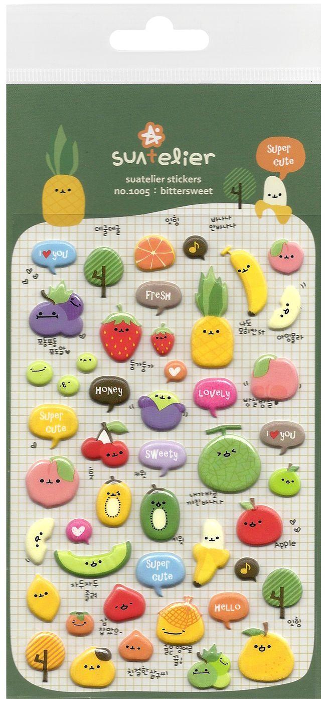 Suatelier Cute Vegetables Puffy Sticker Sheet