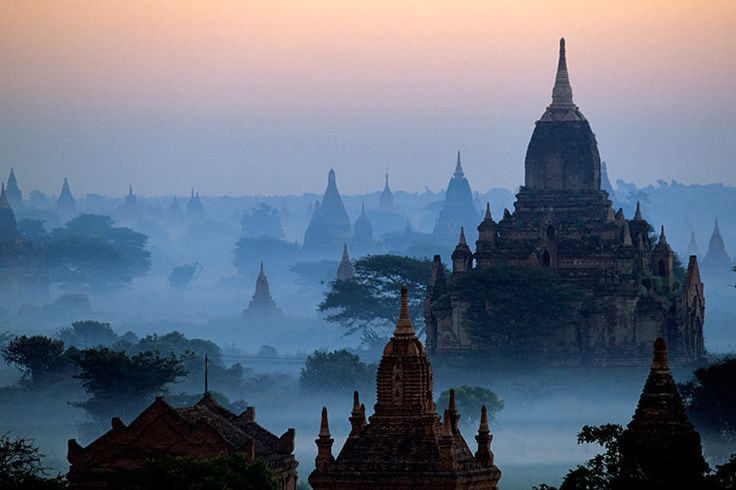 Morning mist rising over the stupas of Bagan. Image by SEUX Paule / hemis.fr / Getty Images