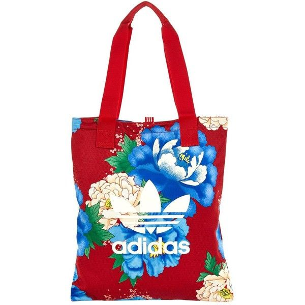 Adidas Originals Chita Oriental Shopper ($18) ❤ liked on Polyvore featuring bags, handbags, tote bags, white tote, shopper handbag, summer totes, flower purse and summer purses