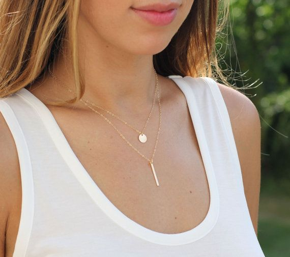 Gold Disc Necklace / Initial Necklace by CharmingMetals on Etsy