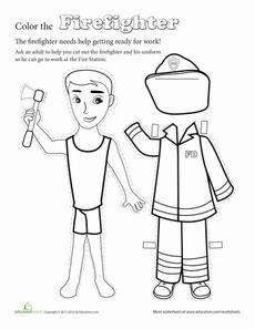 Make a Paper Doll Firefighter Worksheet