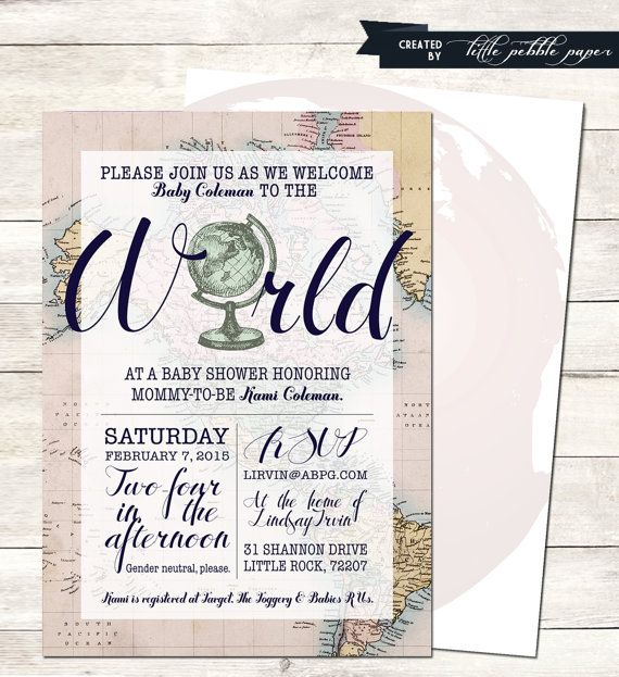 Welcome to the World Baby Shower Printable, Baby Girl Shower, Gender Neutral, Travel Theme, Globe Shower, Map Theme, Around the World Shower