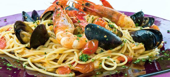 Although the background and history of the first seafood and pastas dish is not known, history of the ingredients defines the earliest possible time the combination could have existed.