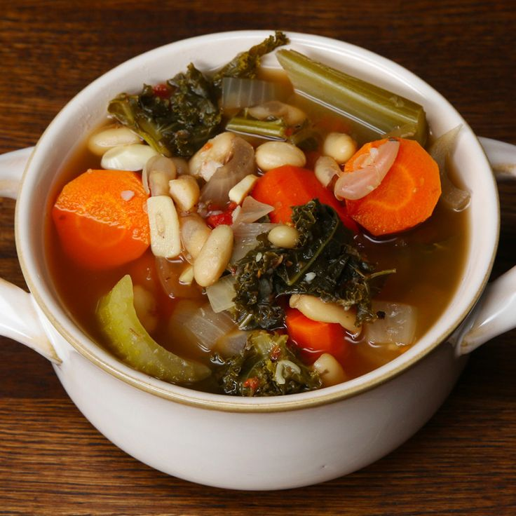Get Cozy With A Bowl Of This Hearty Tuscan Bean Soup, chop veggies smaller,  add sausage or chicken mmm