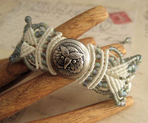 Gray Owl Beaded Macrame Bracelet MicroMacrame by KnotJustMacrame, $29.99