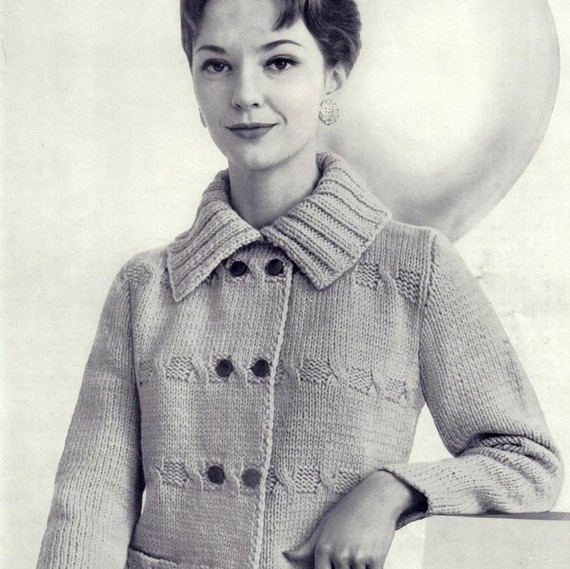 Vintage knitted jacket pattern by PastPerfectPatterns on Etsy