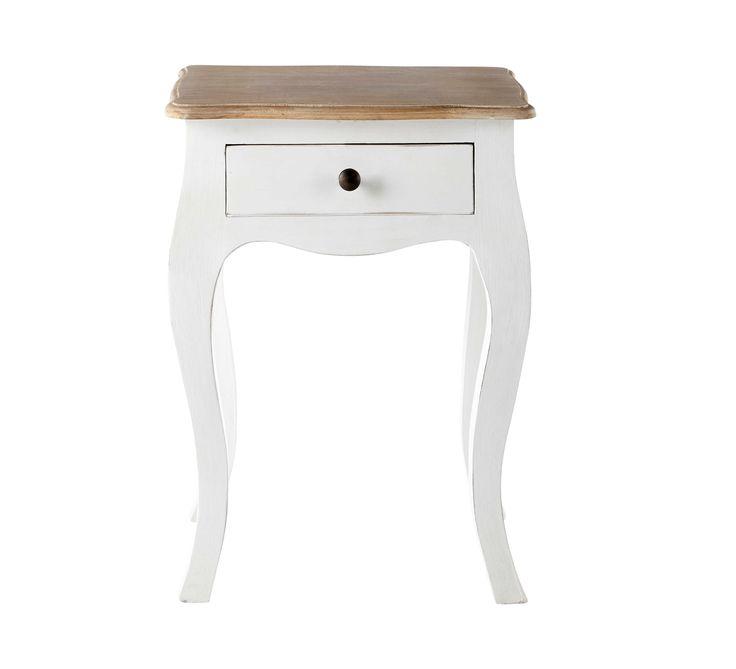 Table Chevet Baroque Pas Cher #13: Table De Chevet Avec Tiroir En Manguier Blanche L 42 Cm Versailles