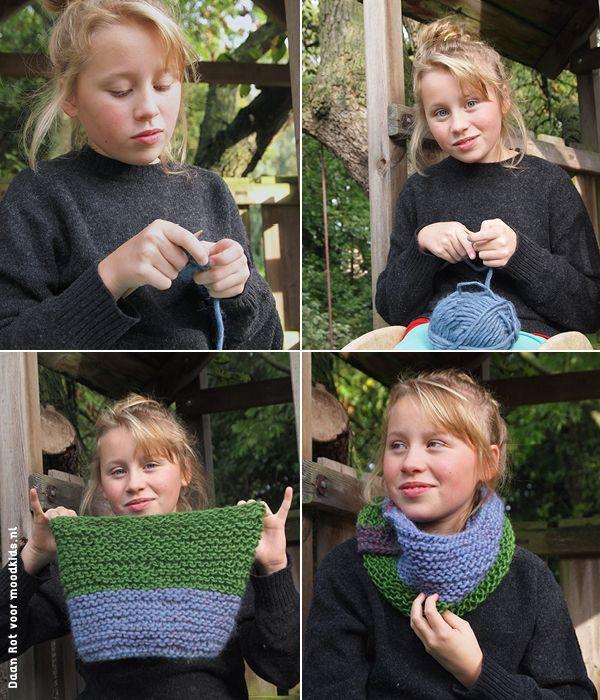 patroon zelf een col maken, diy colsjaal breien #diy #knit #shawl