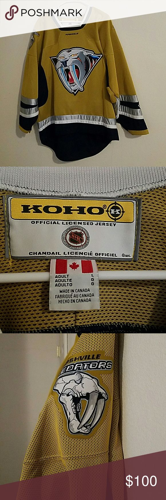 Koho Nashville Predators Jersey Jersey is in great condition with no tears or holes, it does have a small stain on left sleeve (pictured)it has seen 1 Predators game that's it, it has never been launder so stitching and patches are pristine. Size L Koho Tops Sweatshirts & Hoodies