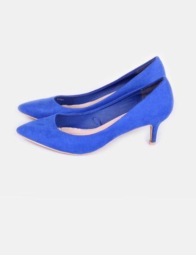 Zapato azul eléctrico de tacón bajo Marypaz