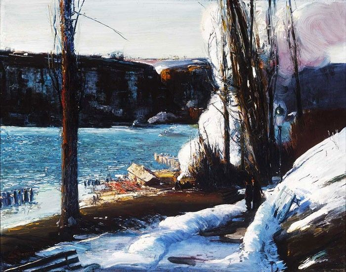 George Wesley Bellows http://www.canvastar.com/product_info_n.php?products_id=283 Title: The Palisades, Date: 1909, Location: Şikago, Terra Museum of American Art #bellows #georgewesleybellows #famouspainters #art #print #canvas #decoration #design #landscape #winter #snow