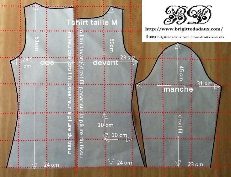 T shirt taille M Patron à reproduire sur du papier quadrillé 1 cm x 1 cm fichier PDF ICI (clic)