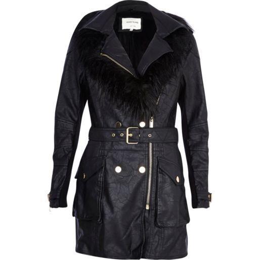 Black leather-look faux fur collar biker coat - leather / leather look jackets - coats / jackets - women