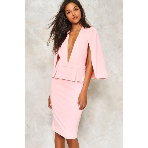 Nasty Gal Cape Bodycon Dress ($70) ❤ liked on Polyvore featuring dresses, pink, v-neck dresses, peplum midi dress, plunging v neck dress, v neck midi dress and bodycon midi dress