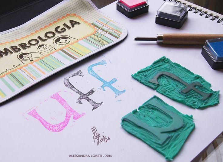 my handmade stamps #stamp #stamps #letter #letters #craft #crafts #ink #pink #blue #black #uff