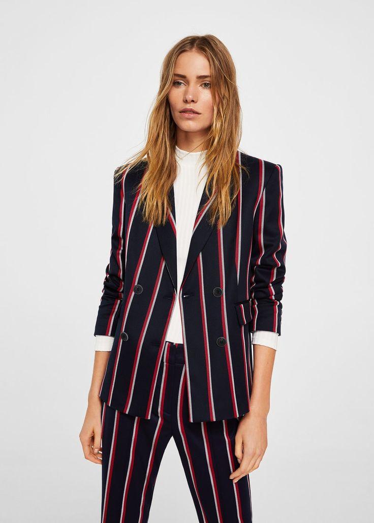Striped suit blazer - Woman | MANGO Greece