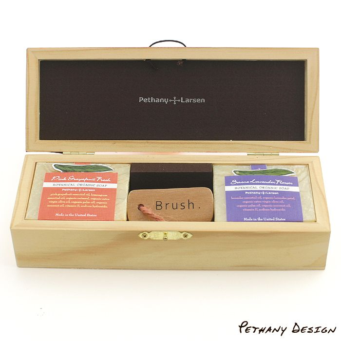 [ Organic Soaps & Brush Wood Gift Box ] Material: Soap, Brush, Wood, Paper. Designed in 2015 for Pethany+Larsen. Made in the United States, Taiwan.
