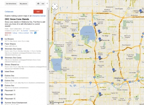 OKC Snow Cone Stand Map