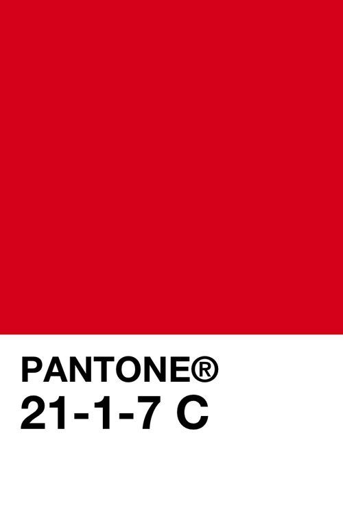 -  Pantone colour 21-1-7C. Saturated hue of red