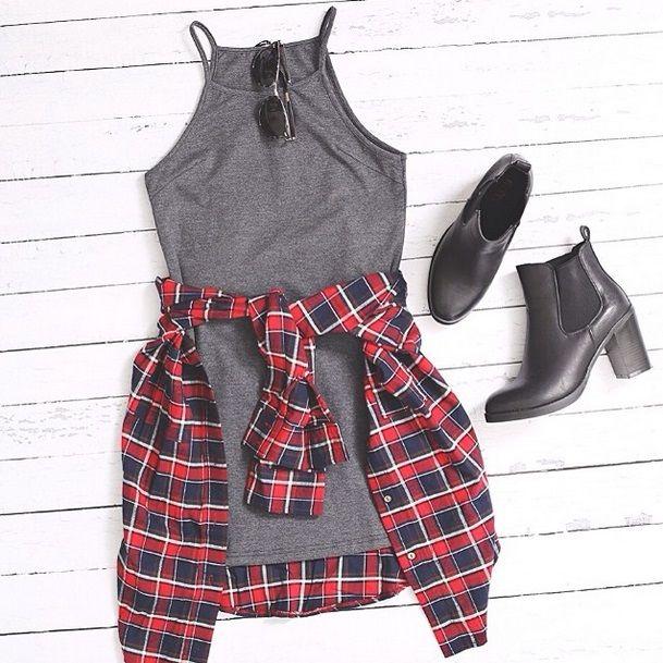 Teen fashion - Grey dress, flannel shirt & chelsea boots.