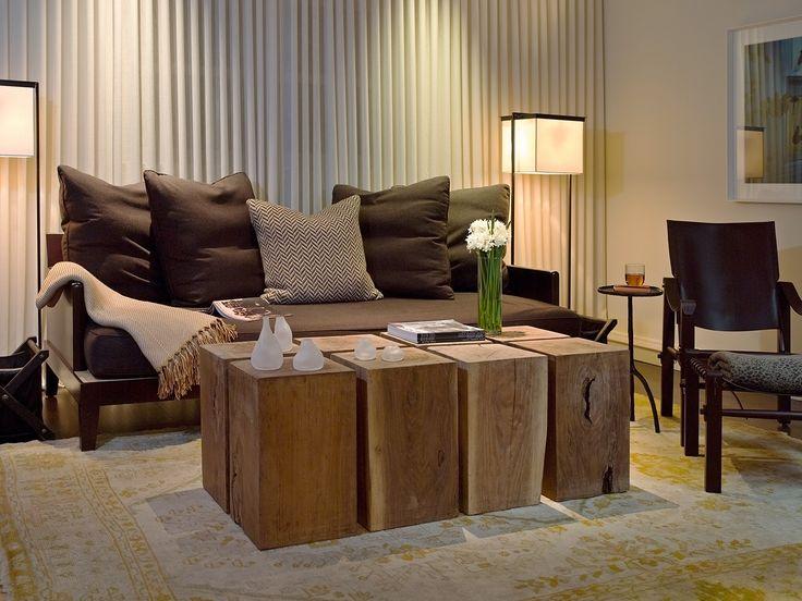 Modern rustic living room Set of eight rectangular tree trunk – Living Room Trunk