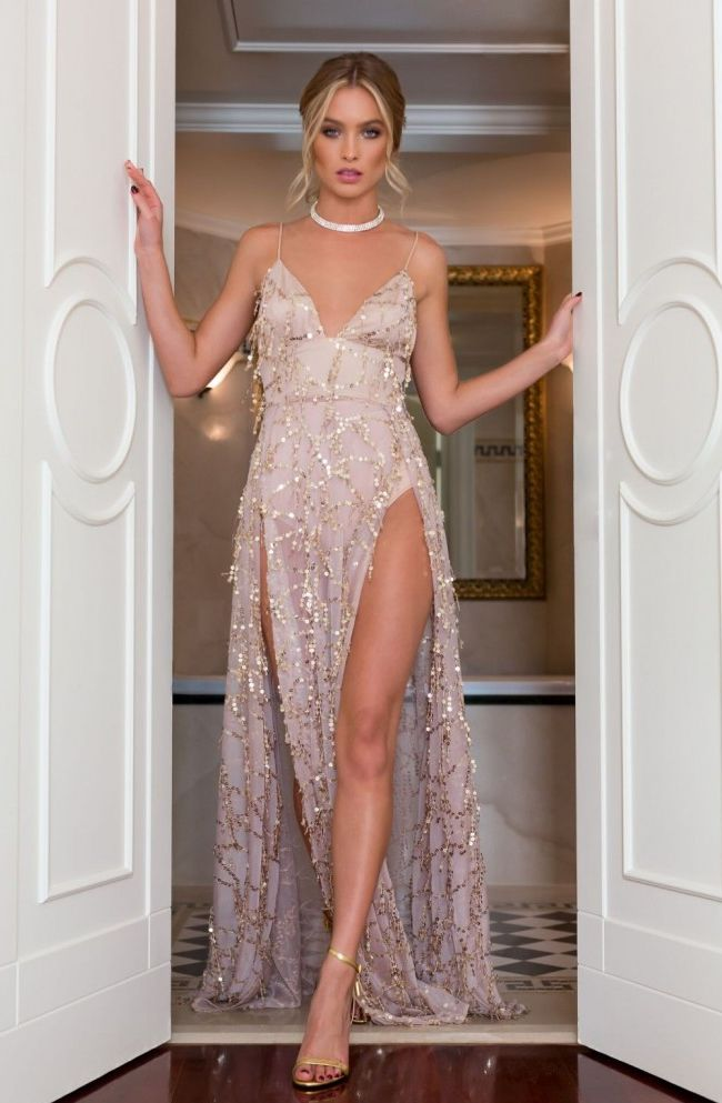 Sexy A-Line Spaghetti Straps Split-Front Long Prom Dress