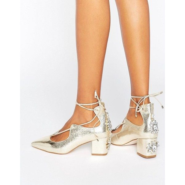 ASOS SALOON Bridal Embellished Heels (205 PLN) ❤ liked on Polyvore featuring shoes, pumps, gold, gold shoes, mid-heel pumps, gold pumps, metallic pointed toe pumps and bridal pumps
