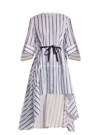 Adjustable-sleeve step-hem striped cotton shirt