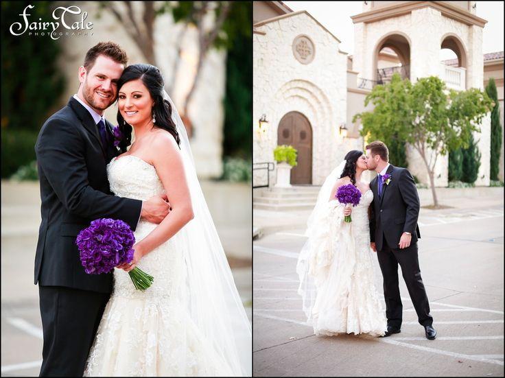 Lace bridal gown, purple bouquet, Lilium Floral Design, purple wedding, lace wedding