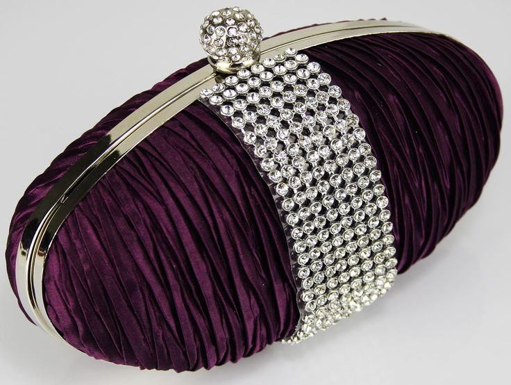 Purple Ruched Satin Evening Clutch Bag with Crystal Diamante Trim