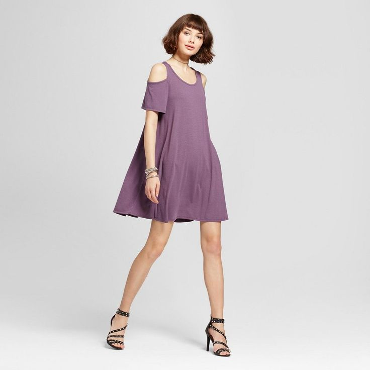Women's Cold Shoulder T-Shirt Dress - Grayson Threads (Juniors') Purple XS