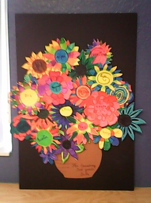 We made this one with a 2nd grade Montessori class today:-)  Every children made a different flower and we put them together like a bouquet!