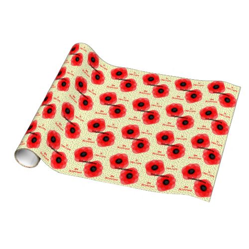 Gift wrap paper suitable for any occasion with beautiful images of pretty red poppies on black and white polka dot. Shown in image as Wedding Congratulations personalized names but feel free to change to suit your occasion or event. A fabulous special gift wrap paper for any gender, any age and any occasion. #pretty #any-occasion #floral #flowers #poppies #poppy #red-flowers #red-white #black-white #polka-dot #spots #spotted #elegant #beautiful #any-age #any-gender #congratulations ...