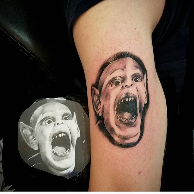 Who remembers seeing this creepy #batchild back in the day on those wacky news papers ahah  #blackandgrey #realistic #bng #tattoo #tattoos #bnginksociety #bgis #skinartmag #morefollowersmonday #instadaily #tattooed #guyswithtattoos #boston #bostontattoo #empiretattooboston #pic #heliostattooneedles #masstattoonetwork #worldfamousink #girlswithtattoos #GETSOME! #tattoo #bostontattoo www.empiretattooinc.com