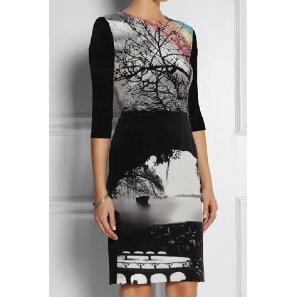 Vintage Scoop Collar Scenery Print 3/4 Sleeves Slimming Women's A-Line Dress, AS THE PICTURE, XL in Vintage Dresses | DressLily.com