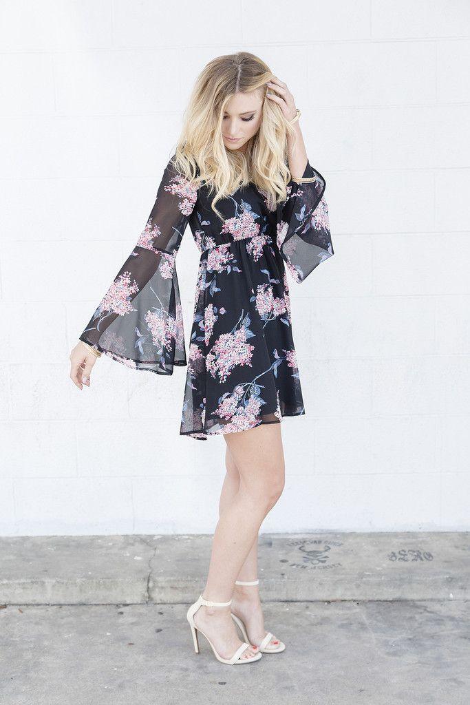 Maybe Midnight Bell Sleeve Dress www.pleatedempire.com