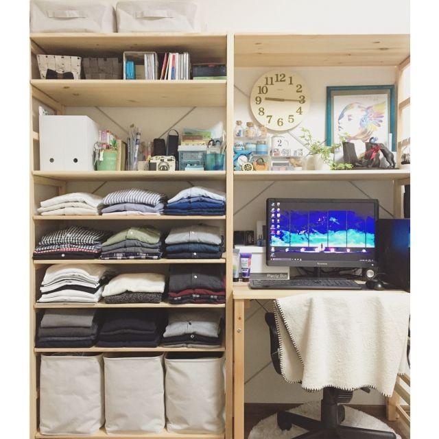 y.さんの、棚,観葉植物,無印良品,雑貨,unico,洋服収納,デスク,パイン材,のお部屋写真