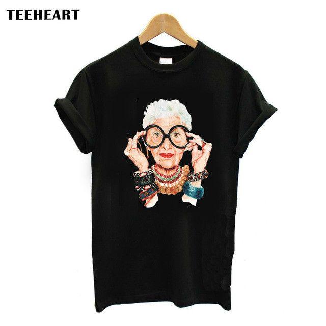 Casual Tumblr Old Women Print T Shirt Women Cotton O-neck Short Sleeve Korean Tops For Women Tshirt