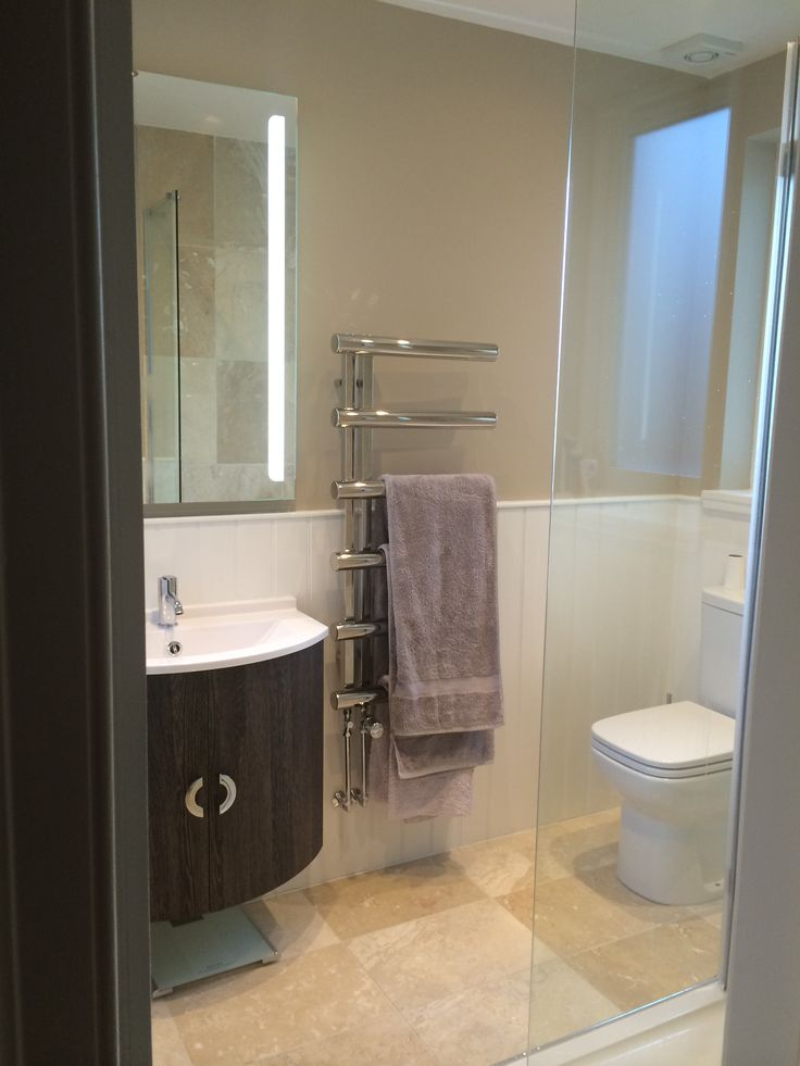 Ensuite bathroom, chime towel rail, farrow and ball oxford stone paint