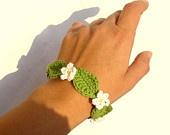 Beautiful and unique flower designed crochet necklace and bracelet set in light summer orange tones.