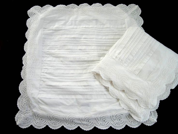 2 Pine Cone Hill White Cotton Boxed Euro Shams Broderie Anglaise Lace & Pintucks