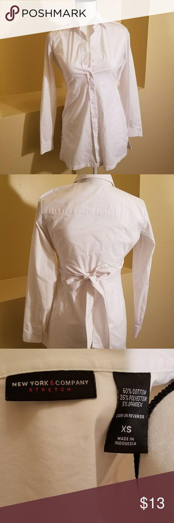 White button down shirt New York & Company white button down shirt with tie in back New York & Company Tops Button Down Shirts