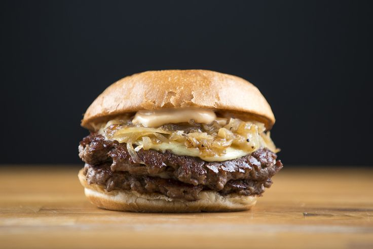 Friends & Brgrs – Double Cheese & Onion Brgr. Bun, 2 x patty, cheese, caramelized onion, Friend's mayo. #food #burger #doubleburger #fastcasual #burgerrestaurant #neverfrozenbeef #friendsandbrgrs