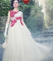 Buy White Embroidered Soft  Net semi stitched Gown party-wear-gown online