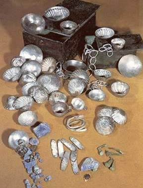 The Tod Treasure, buried under the temple of Montu at Tod. Possibly a result of Amenemhat II's raids into Levant (1911-1877 BC)