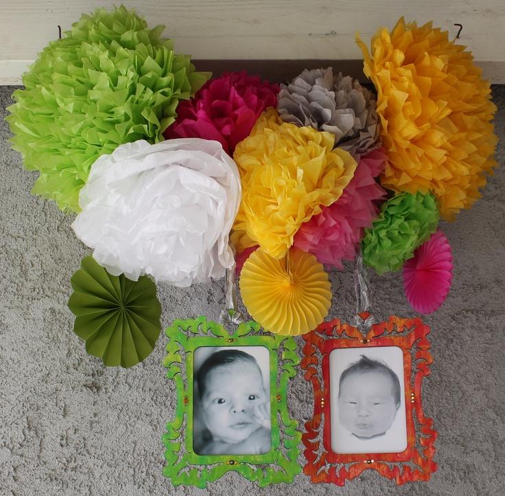pom pom paper flowers from my fiesta baby shower feb