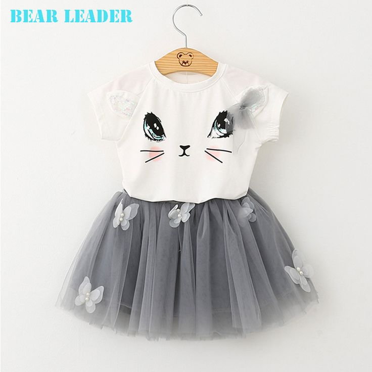 Bear Leader Girls Clothing Sets New Summer Fashion Style Cartoon Kitten Printed T-Shirts+Net Veil Dress 2Pcs Girls Clothes Sets
