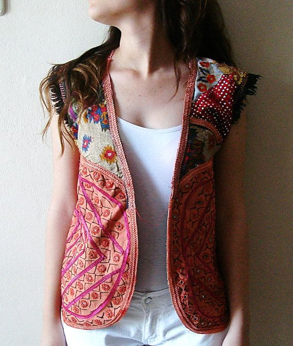 Upcycled Woman's Top Vest Blouse Sequin glitter by boutiqueseragun