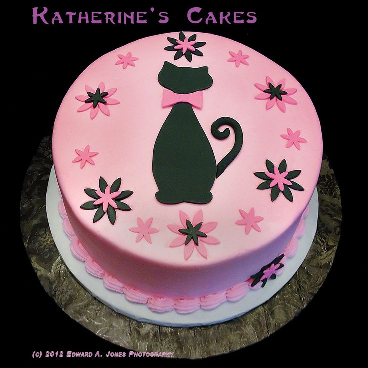 Cheerful Pink Birthday Cake Decorating Idea With Black Cat Motive With Pink Ribbon And Pink Black